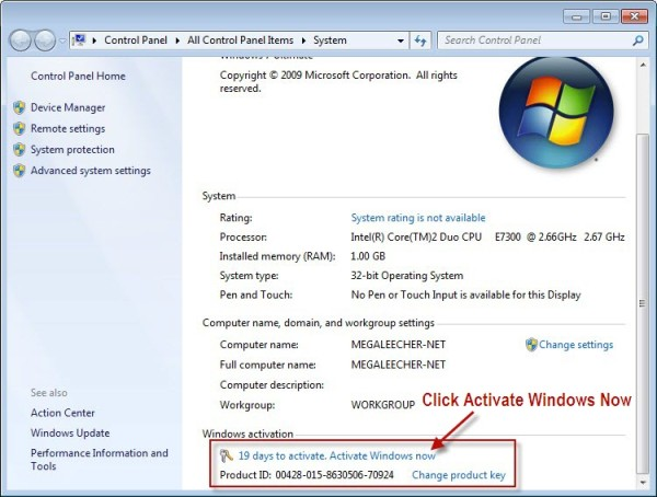 Activating Windows 7 Step 2