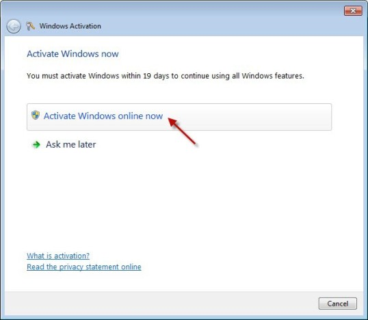 Activating Windows 7 Step 3
