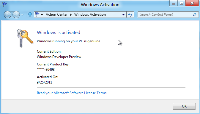 Windows 8 activation result