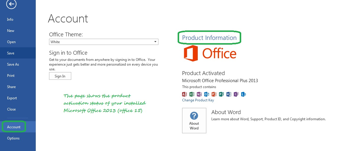 Microsoft Office 2013 (office 15) Activation Status